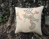 Happy Snowman Pillow Tuck, Primitive Embroidered Stitchery, Smiling snowman pillow, Christmas Tree Tuck, green red blue scarf, black top hat