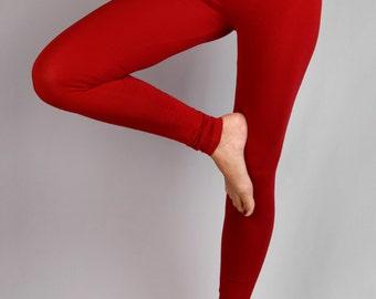 Red India Leggings in  Rayon Lycra - Dance wear, Yoga wear, Active wear, Casual wear