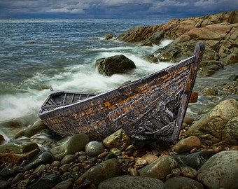 Shipwrecked Wooden Boat on Rocky Beach with crashing waves after the Storm No.1372 - A Seascape Boat Photograph