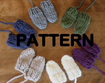 PDF PATTERN Chunky Knit Baby Mittens - Thumbless Mitts Newborn 0 - 6 Months, 6 - 12 Months - Boy Girl Gender Neutral - INSTANT Download