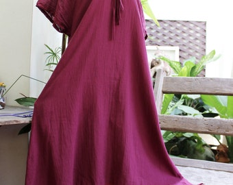 Double Layers Cotton Dress - Saranya 1409-06 Red Wine