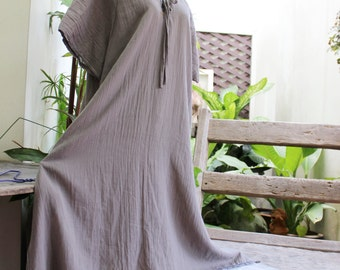 Double Layers Cotton Dress - Saranya 1409-07 Rosy Brown