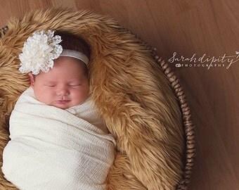 Ivory Baby Headband - Newborn Headband - Ivory Flower Headband
