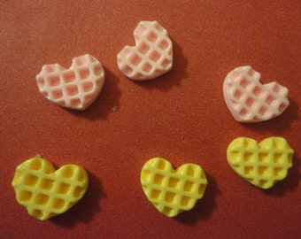 Kawaii mini mini heart waffle cabochons decoden phone deco diy 6 pcs---USA seller