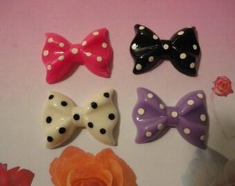 Kawaii polka dots bow cabochon decoden deco diy charms  4 pcs---USA seller