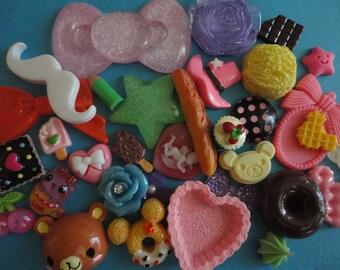 Sale sale--kawaii decoden phone diy charm big pink bow cabochon mix    B1 more than 30 pcs---USA seller