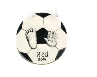 Soccer Handprint and Footprint Keepsake personalized for Nursery or Gift Idea, Ceramic Handprint Art and Personalized Wall Decor