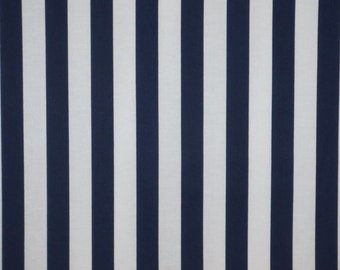REMNANT--Navy and White Classic Awning Stripe Pure Cotton Fabric--1&1/8 Yard