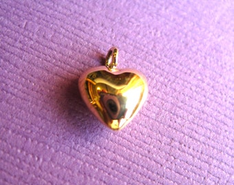 Gold over Silver 3D  Puffy Heart  Charm