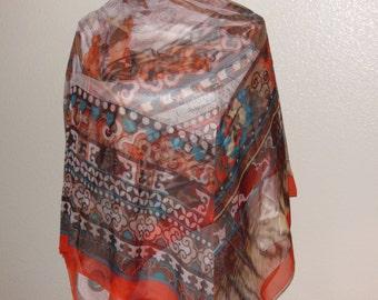 Scarf-square  brown  beige orange)   Silk  Large