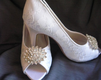 Wedding Shoes Ivory or White Bridal Shoes with Lace and Crystal Brooch
