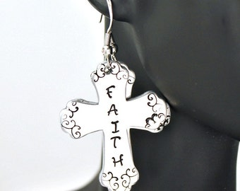 Faith hand stamped cross earrings
