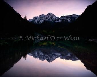 Maroon Bells Dusk Reflection Aspen Colorado Mountain Lake Photograph Print 8x10
