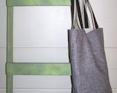 Gray Cotton Deep Tall Tote Shoulder Bag w/Jute Handles