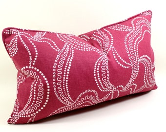 Fuschia Pillow Cover, Duralee Eileen Kathryn Boyd, Cushion Cover, Lumbar Pillow,  Decorative Pillow