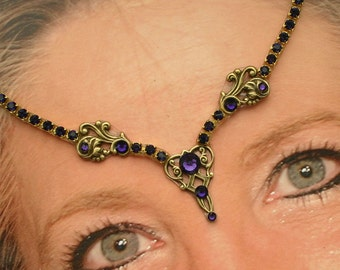 In Place of a Bindi - Purple Velvet Jeweled Goddess Forehead Adornment