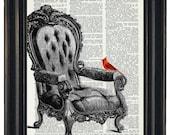 BOGO SALE Cardinal Art Print Dictionary HHP Original Book Page Print Upcycle Wall Art Book Art  Dictionary Cardinal on Chair Dictionary