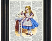BOGO SALE Alice in Wonderland Vintage Dictionary Book Art Page Print Drink Me Upcycled Wall Art
