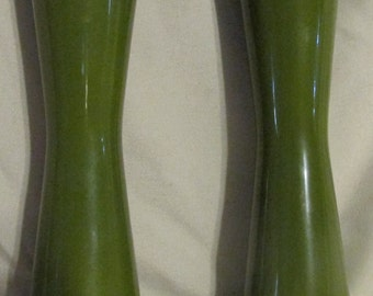 Vintage Green Salt and Pepper Shakers