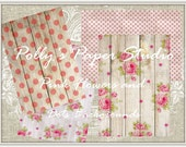 Pink Flowers and Dots Backgrounds Digital Images printable download file
