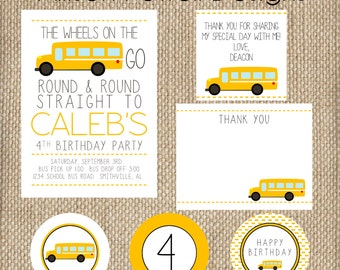 School Bus, Wheels On The Bus SMALL Birthday Party Package - Print your own
