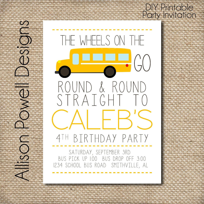 school bus wheels on the bus birthday party invitation