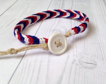 Red, White and Blue, Patriotic Woven Macrame Adjustable Bracelet
