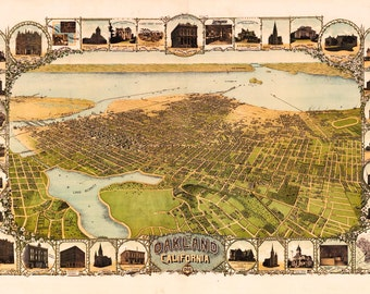 Oakland CA Birds Eye View Map 1900 (c1899)
