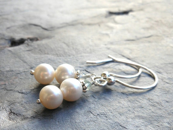 Pearl Earrings Sterling Silver Cream White Freshwater with aquamarine gemstones