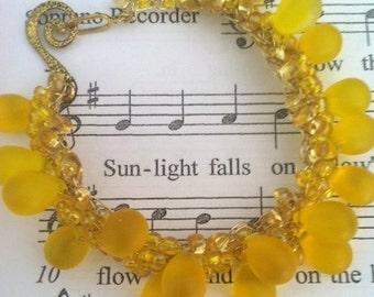 Lemon Drop Bracelet, Wire Crochet