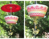 Hanging Covered Aztec Design Bird Feeder, Melamine