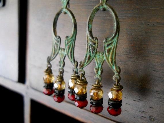 RHAPSODY-Verdigris Chandelier with Czech Glass Beads