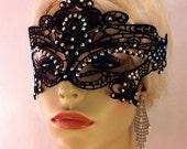 Swarovski Crystal Rhinestone Black Lace Mask, Masquerade Ball, Eyes Wide Shut, Fetish Mask, Black or White