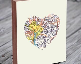 Washington DC Map - Washington DC Art  - Washington DC Print - City Heart Map - Wood Block Art Print