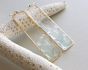 Beach Glass Earrings, Aqua Sea Glass, Sea Foam, Rectangle, Boho Beach Earrings, Resin Earrings, Seaglass Dangle, Beachglass: Ready to Ship