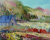 """St-Urbain, Charlevoix, Canada -  Canadian landscape - Original oil painting on canvas - Home decor  10"""" X 12"""""""