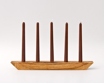 Unique Wood Candle Holder Candelabra Rustic Centerpiece OOAK 011
