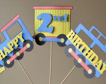 Train Birthday Party Decorations- 3 PIECE CENTERPIECE - First Birthday, Second Birthday, 2nd Birthday