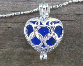 Cobalt Blue Sea Glass  Heart  Necklace Locket Sapphire Blue