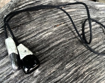 Hematite and Black Onyx kumihimo cord necklace