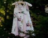 Pink-and-white floral with pink gingham detail; girl's size 5-6