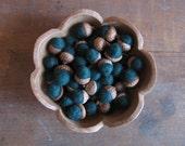 Felted wool acorns, Pine Green, wholesale set of 50, dark green acorn bowl filler, winter decor, woodland wedding favors, fall table decor