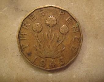 1945 United Kingdom, Three Pence - George VI