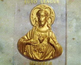 "Vintage Catholic Plaque, 1960s Sacred Heart Auto League Member Plaque, Gold Stamped Jesus on Clear Lucite Plastic, 2.5 x 1.75"""