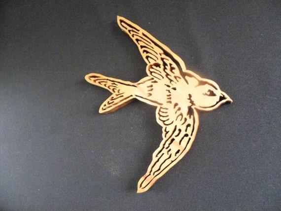 Sparrow Bird Wall Art Wood Bird Wooden Bird By