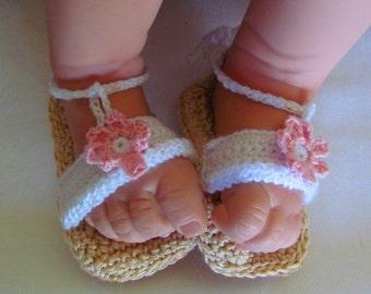 Pink Flower Baby Sandals, Dressy Baby Sandals, Baby Sandals, Crocheted Baby Sandals