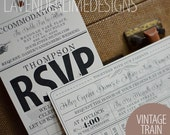 Printable Vintage Train Travel WEDDING or BIRTHDAY Custom Invitation Set