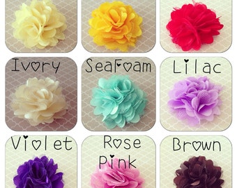 Satin Mesh Flower Hair Clips: 24 COLORS Choices, Small Flower Clips, Boutique Style Baby Bows, Petite Clips, Satin Puffs, Toddler Ponytail