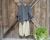 linen asymmetrical top blouse v neck in charcoal smoke grey ready to ship