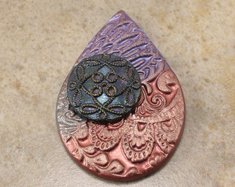 One of a Kind Teardrop Pendant Copper Teal Sage Green Purple Dramatic Colorful Bold Mixed Media Pendant Unique Art Bead